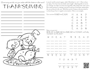 Doublets Game - Thanksgiving  Coloring Page