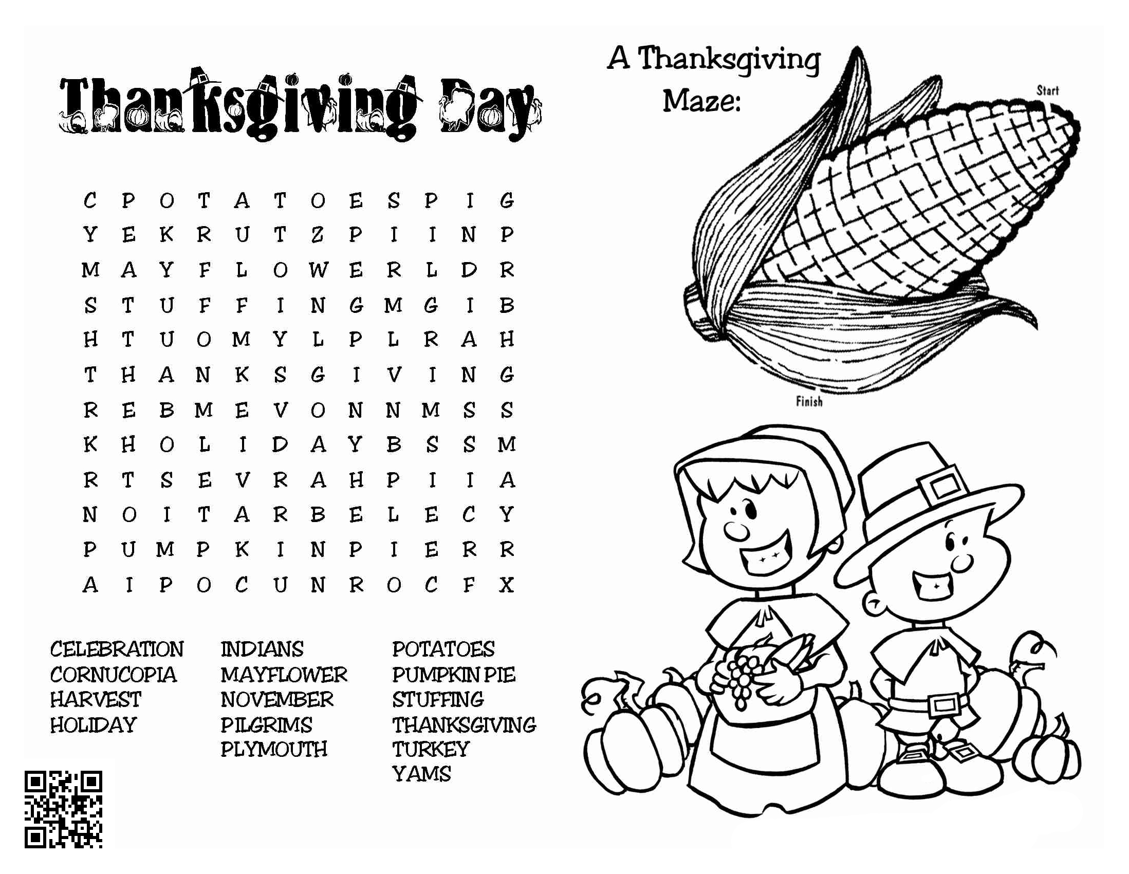thanksgiving coloring page maze dialect zone international